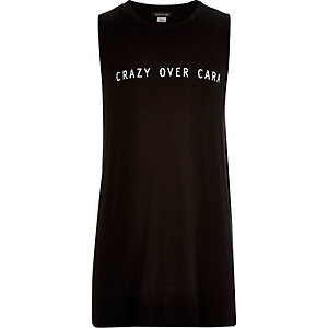 Girls black Cara print tank top