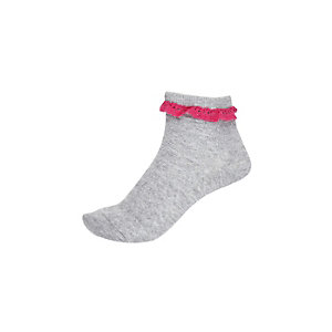 Girls grey frilly ankle socks