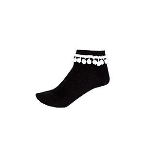 Girls black black pom pom trim ankle socks