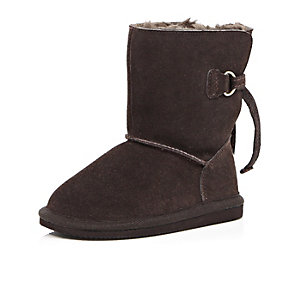Mini girls brown faux fur lined boots