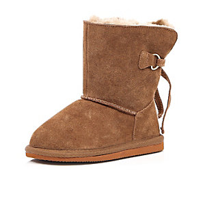 Mini girls light brown faux fur lined boots