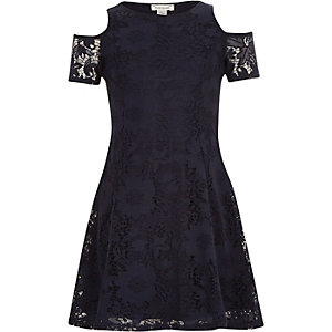 Girls navy lace cold shoulder party dress