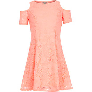Girls pink lace cold shoulder dress