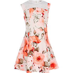 Girls coral floral print fit and flare dress