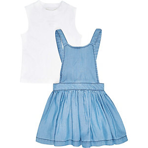 Mini girls blue dress white top outfit