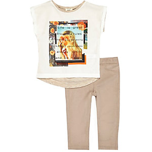 Mini girls t-shirt faux-suede leggings outfit