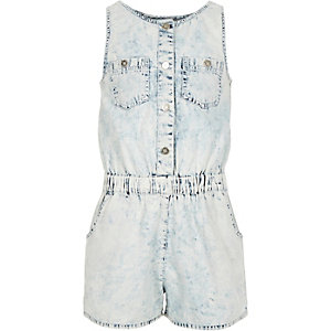 Girls light wash blue denim playsuit
