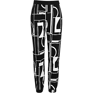 Girls black printed joggers