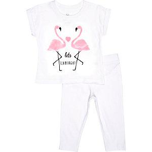 Mini girls flamingo t-shirt leggings outfit