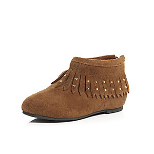 Mini girls brown fringed moccasin boots