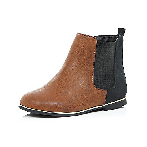 Mini girls brown Chelsea boots