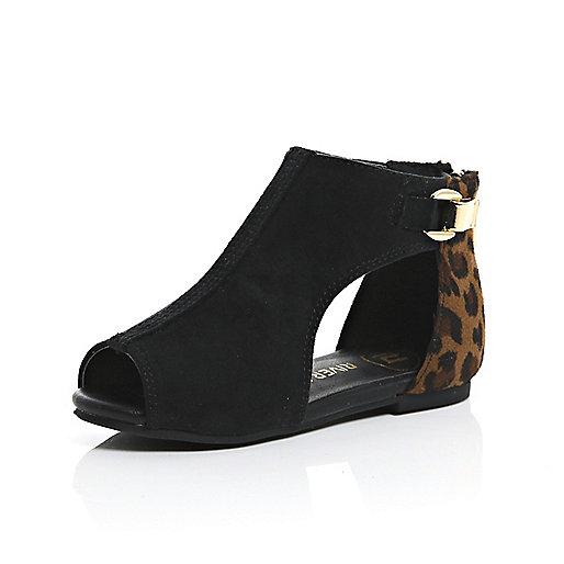 Chaussures découpées marron mini fille