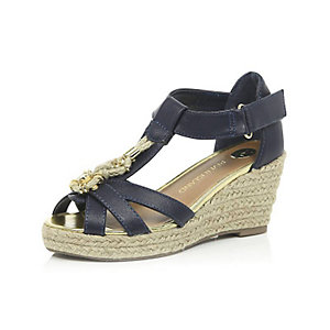 Girls navy raffia wedges