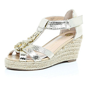 Girls gold metallic embellished wedges