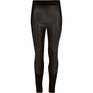 Girls black leather-look panel leggings