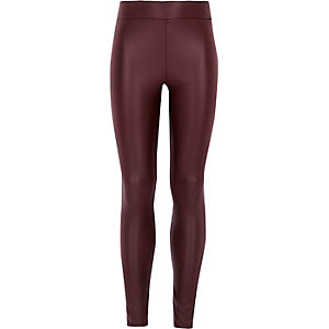 Girls red coated high waisted leggings
