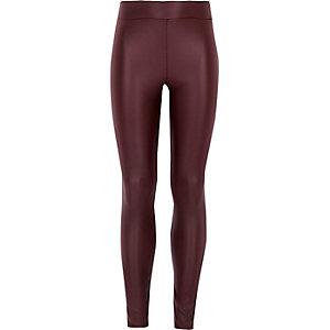 Girls red coated high waisted leggings