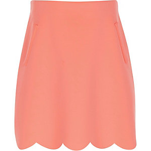 Girls light pink scallop edge A-line skirt