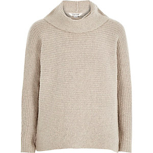 Girls beige bowl neck knitted jumper