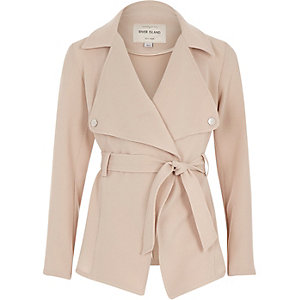 Girls beige cropped trench jacket