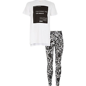 Girls white Cali t-shirt and leggings outfit