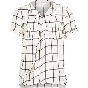 Girls white check wrap blouse