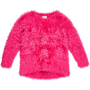 Mini girls pink textured jumper