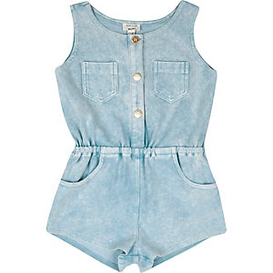 Mini girls light blue denim-look playsuit
