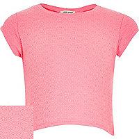 Girls pink jacquard t-shirt