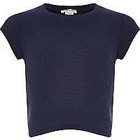 Girls navy blue jacquard t-shirt
