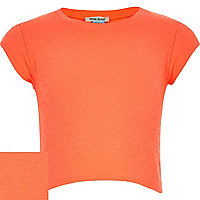 Girls orange jacquard t-shirt