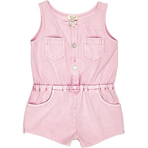 Mini girls pink denim-look playsuit