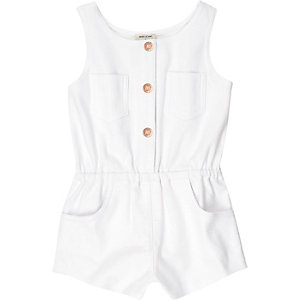 Mini girls white denim-look playsuit