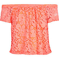 Girls coral lace gypsy top