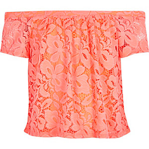 Girls coral lace bardot top