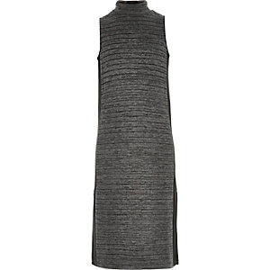 Girls grey knitted column maxi dress