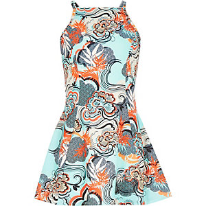 Girls aqua printed fit and flare dress