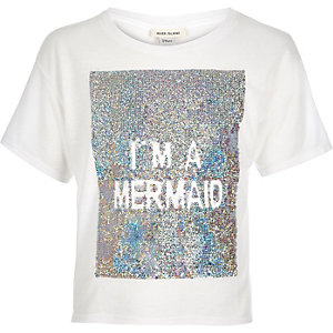 Girls white sequin mermaid t-shirt