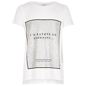 Girls white shopping print t-shirt