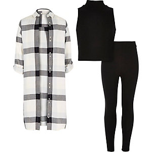 Girls check shirt top and leggings outfit