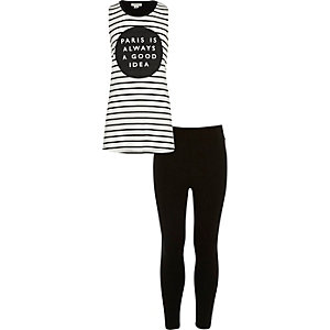 Girls black Paris print top leggings outfit
