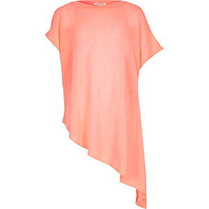Girls orange asymmetric hem t-shirt