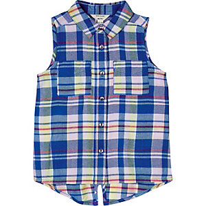Mini girls blue boxy check shirt