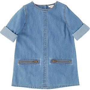 Mini girls denim zip shift dress