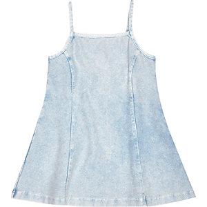 Mini girls blue denim-look strappy dress