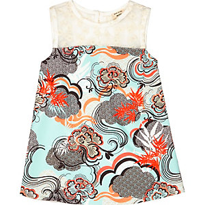 Mini girls printed sleeveless dress