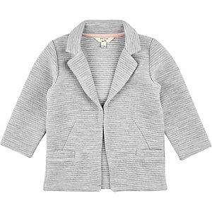 Mini girls grey ribbed blazer