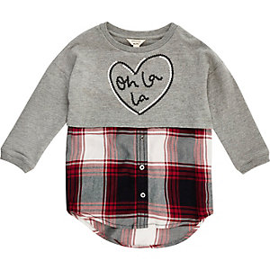 Mini girls grey sweater check shirt hybrid