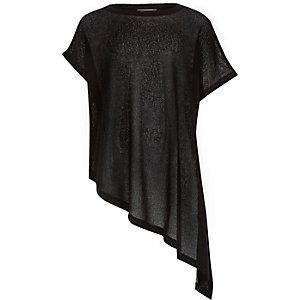 Girls black asymmetric hem t-shirt