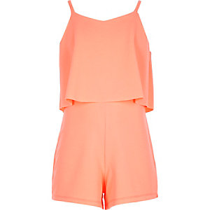 Girls coral double layer playsuit